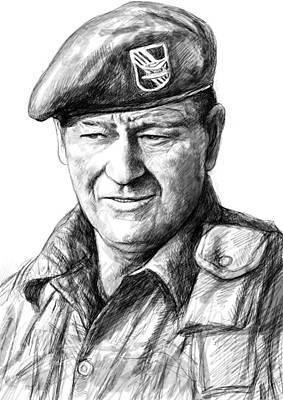 John Wayne Art Drawing Sketch Portrait Poster by Kim Wang