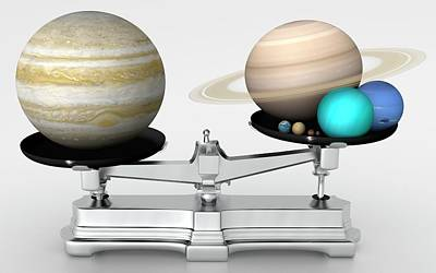 Jupiter Mass Compared With Other Planets Poster by Mark Garlick