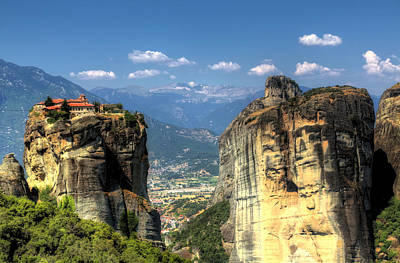 Kalambaka Beneath The Meteora Of Greece Poster by Micah Goff