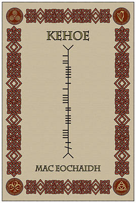 Poster featuring the digital art Kehoe Written In Ogham by Ireland Calling