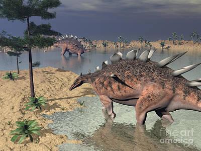 Kentrosaurus Dinosaurs Walking Poster by Elena Duvernay