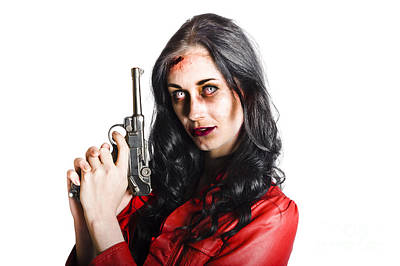 Killer Female Zombie With Hand Pistol Poster
