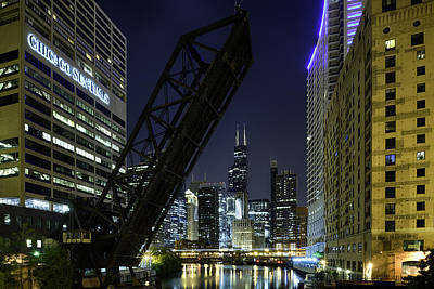 Kinzie Street Railroad Bridge At Night Poster by Sebastian Musial
