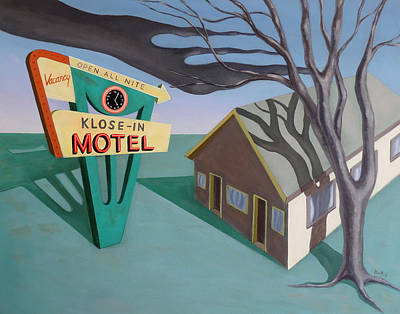 Poster featuring the painting Klose-in Motel by Sally Banfill