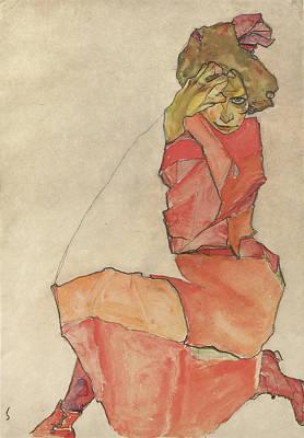 Kneeling Female In Orange-red Dress Poster by Celestial Images