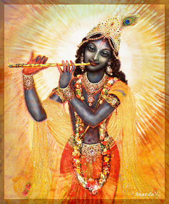 Krishna With The Flute Poster
