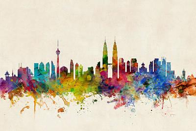 Kuala Lumpur Malaysia Skyline Poster by Michael Tompsett