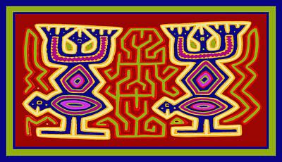 Poster featuring the digital art Kuna Bird Spirits by Vagabond Folk Art - Virginia Vivier