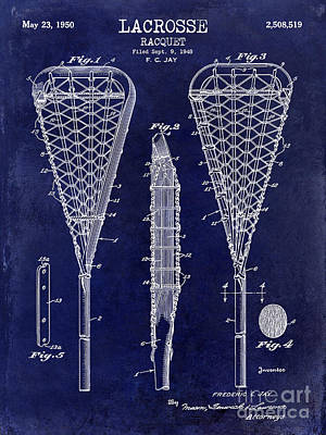 Lacrosse Racquet Patent Drawing Poster