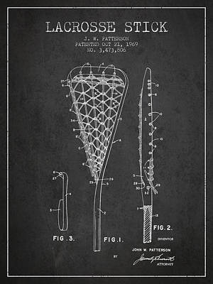 Lacrosse Stick Patent From 1970 -  Charcoal Poster by Aged Pixel