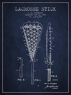 Lacrosse Stick Patent From 1970 -  Navy Blue Poster by Aged Pixel