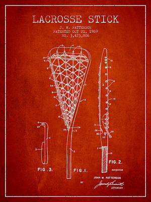 Lacrosse Stick Patent From 1970 -  Red Poster by Aged Pixel