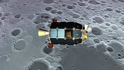 Ladee Spacecraft Over The Moon Poster
