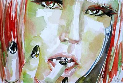 Lady Gaga - Watercolor Portrait.1 Poster by Fabrizio Cassetta