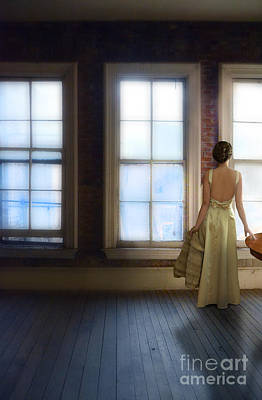 Lady In Gown Looking Out Windows Poster by Jill Battaglia
