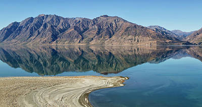 Lake Hawea With Reflections Poster by Nicola M Mora