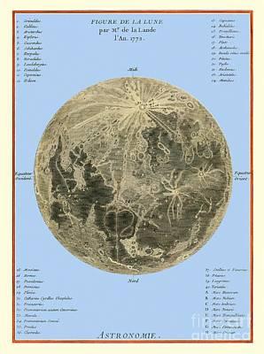 Lalandes Moon Map, 1772 Poster by Detlev van Ravenswaay