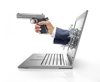 Laptop With Hand And Gun Poster by Leonello Calvetti