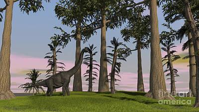 Large Brachiosaurus Grazing Among Trees Poster by Kostyantyn Ivanyshen