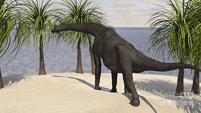 Large Brachiosaurus Grazing On Trees Poster by Kostyantyn Ivanyshen