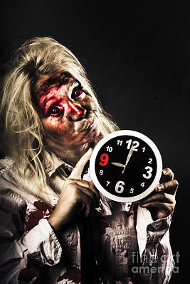 Late Zombie Woman Holding Clock. Passing Time Poster