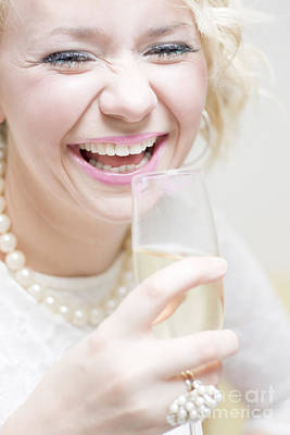 Laughing Young Woman At Party Poster
