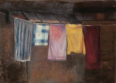 Poster featuring the pastel Laundry Day by Cindy Plutnicki