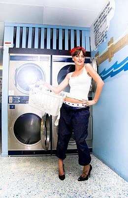 Laundry Mat Woman Poster
