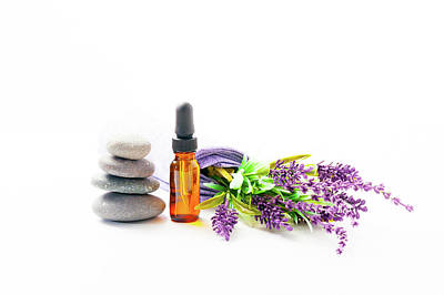 Lavender Flowers And Aromatherapy Oil Poster by Wladimir Bulgar