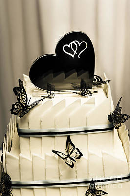 Layered White Wedding Cake With Chocolate Detail Poster