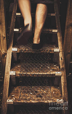 Legs Of A Bushwalking Man Climbing Wooden Stairs Poster by Jorgo Photography - Wall Art Gallery