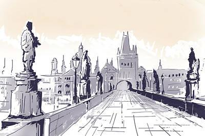 Lesser Town Bridge Tower Drawing Czech Republic Poster