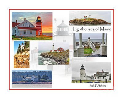 Lighthouses Of Maine Poster by Jack Schultz