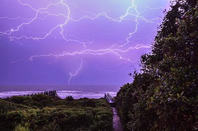 Lightning Over The Beach Poster