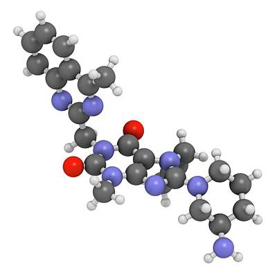 Linagliptin Diabetes Drug Molecule Poster