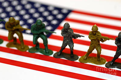 Line Of Toy Soldiers On American Flag Shallow Depth Of Field Poster