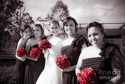 Lineup Of Bride And Bridesmaides Poster by Jorgo Photography - Wall Art Gallery