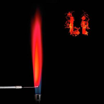 Lithium Flame Test Poster by Science Photo Library