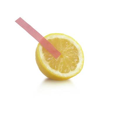 Litmus Paper Test On A Lemon Poster by Science Photo Library