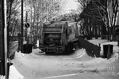 Local Waste Collection Lorry Collecting From Snow Covered Residential Street Kirkenes Finnmark Norwa Poster