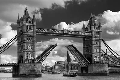 London Bridge Raised For Sailing Barge Poster by Izzy Standbridge