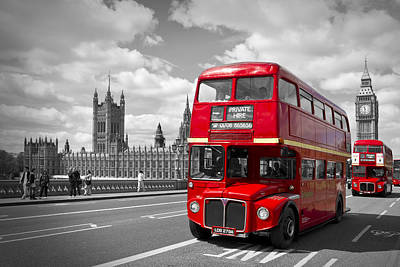 London - Houses Of Parliament And Red Buses Poster by Melanie Viola