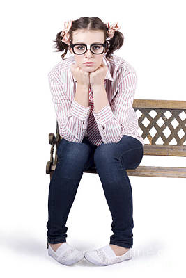 Lonely Business Girl Sitting On Park Bench Poster
