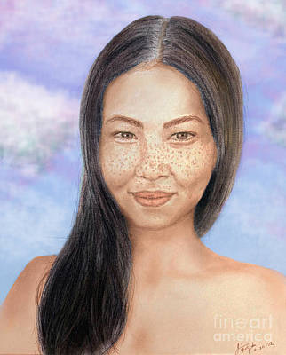 Long Haired Natural Asian Beauty Poster by Jim Fitzpatrick