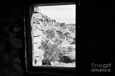 Looking Out Through Window From Interior Of Historic Stone Cabin Built By The Civilian Conservation  Poster