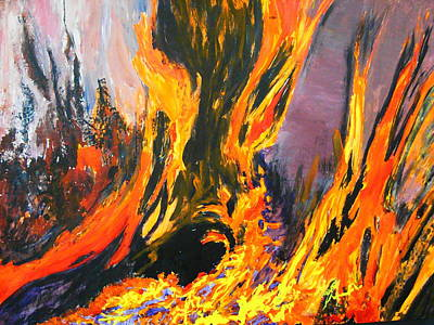 Poster featuring the painting Looks Like Hell by AnnE Dentler