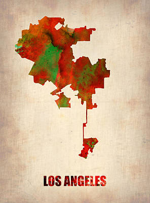 Los Angeles Watercolor Map Poster by Naxart Studio