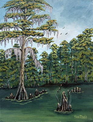 Poster featuring the painting Louisiana Cypress by Suzanne Theis