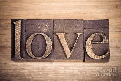Love In Printing Blocks Poster