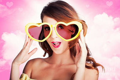 Love Is Blind. Woman Wearing Heart Shape Glasses Poster by Jorgo Photography - Wall Art Gallery